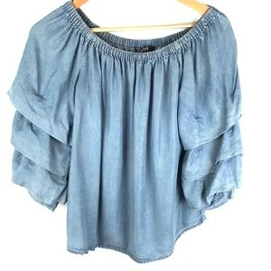 VELVET HEART blue denim flowy layered sleeve top S